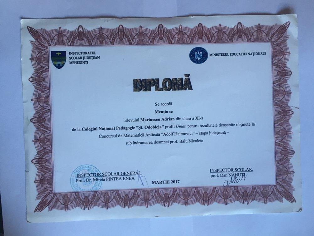 Mathematics Contest Award