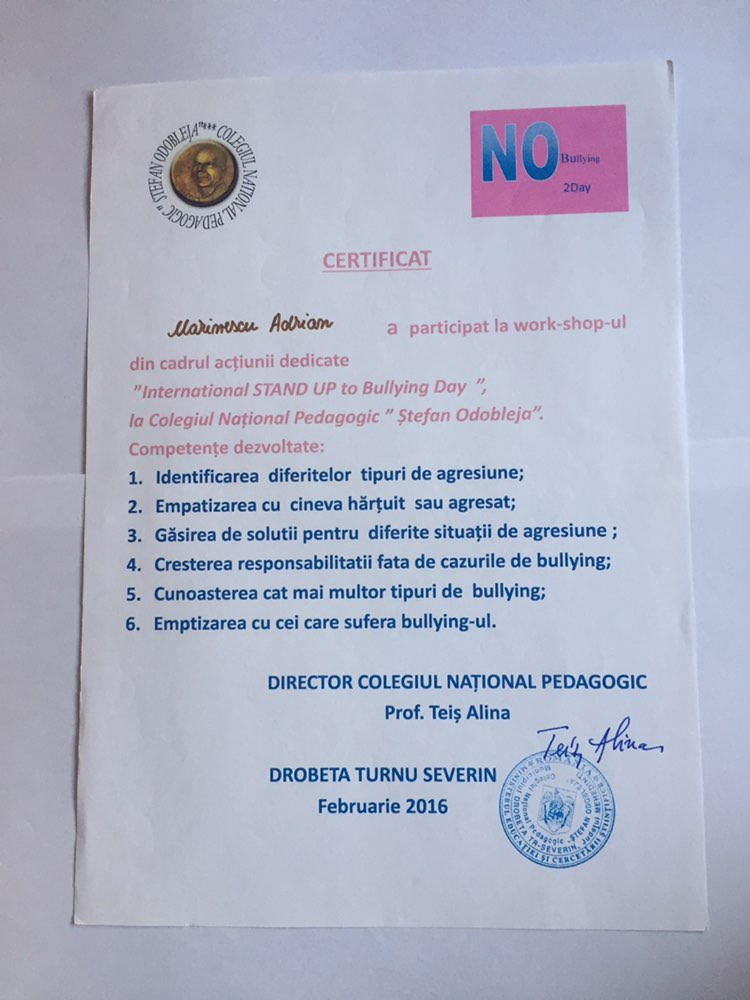 No bullying workshop certificate