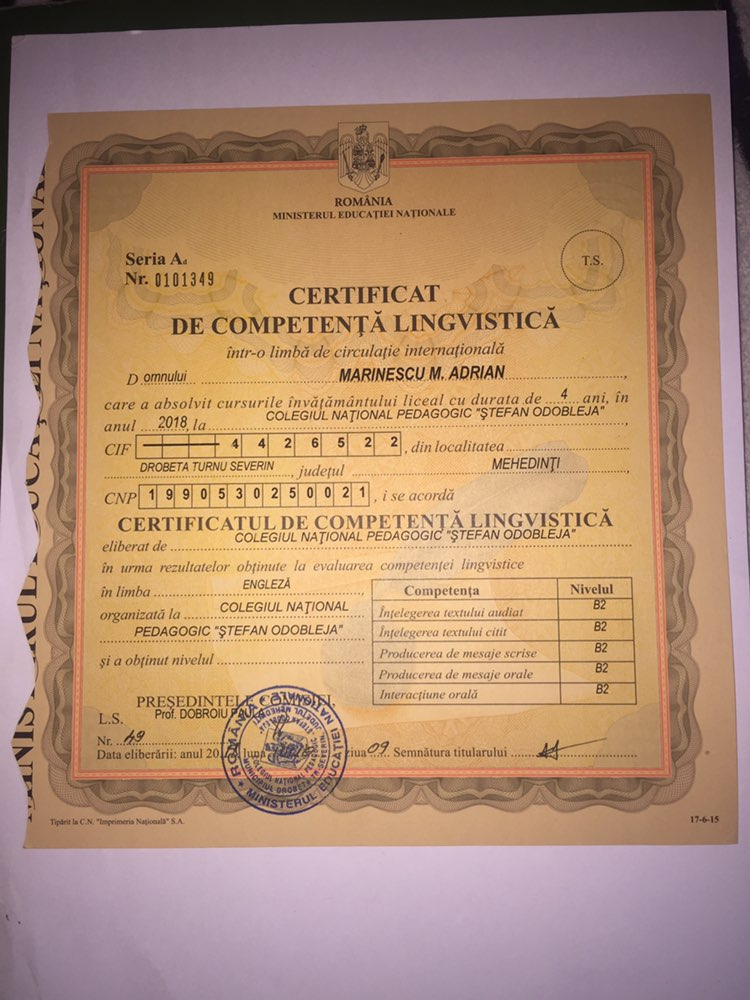 Advanced English Level Certificate